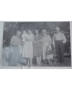 Vintage Black & White 4-Inch x 6-Inch Outdoor Family Photo W/Classic Car & Trees