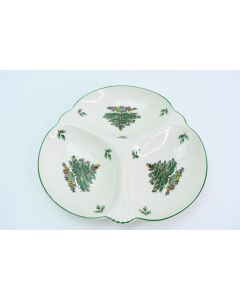 Spode Earthenware Christmas Tree Divided Rounded Relish Tray S3324-V