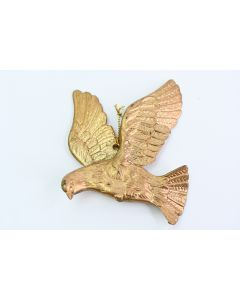 Gold Glitter Plastic Bird With Outstretched Wings Christmas Ornament W/Hanger