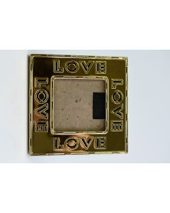 Gold Plastic Square 4.5-Inch LOVE Photo Desk Frame W/Easel For 2.25-Inch Photo