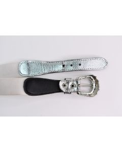 Stretchy White Silver Belt W/ Silver Clasp