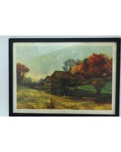 Vintage Mill Stream Lithograph Art Print By Robert Wood 18 x 12-Inch Framed USA