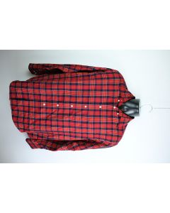 Roundtree & Yorke Mens Easy Care Red Navy Plaid Button Up Long Sleeve Shirt Sz M