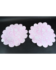 Set Of 2 Swell Vinyl Pink Flower-Shaped Placemats W/White Floral Design Kitchen