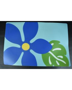 Set Of 2 Blue Floral 19 x 13-Inches Rectangular Vinyl Placemats Kitchen Dining