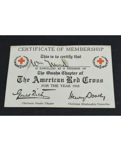 Antique The American Red Cross Certificate Of Membership for the Year 1918 Omaha