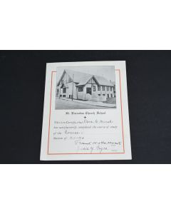 Antique 1917-1918 St. Barnabas Church School Course II Completion Certificate
