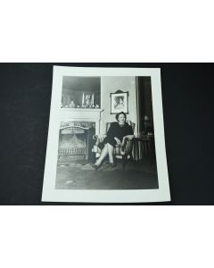 Vintage Claude Constable Studios Woman Sitting By Fireplace Collectible Photo