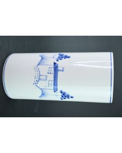 White Hand Painted Blue House Yard Trees Cylinder Flower 7.25-Inch Vase Décor