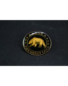 Alaska The Great Land Black Gold Grizzly Bear Pin