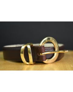 Faux Leather Brown 1-Inch Wide Adjustable Dress Belt W/Gold Round Buckle Size S