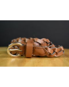 Light Brown Braided Skinny Casual Adjustable Belt W/Round Silver Buckle Size 6