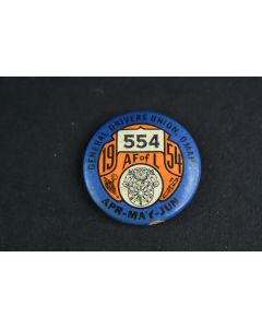Vintage General Drivers Union Omaha NE 1954 AF Of L 554 Apr May Jun Round Pin