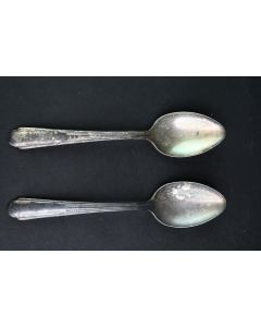 Set Of 2 Antique Fairfield Tulip Pattern Silver Plate 7-Inch Serving Spoons Home