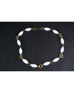 Vintage Trifari White Beaded 24-In Necklace W/Gold Chain & Lobster Clasp Jewelry