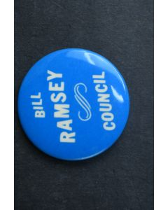 Bill Ramsey Council Campaign Pin Blue With White Letters Vintage Collectable Pin