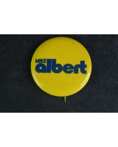 Mike Albert Small Collectable Vintage Retro Yellow Pin With Bold Blue Letters