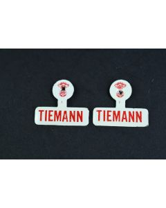 Set Of 2 Vintage Off White W/Red Letters Tiemann Republican Metal Tab Buttons