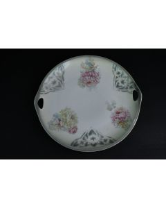 Ivory Cookie Cake 9 Inch Plate W/Floral Design Gray Trim & Handles 292 Germany