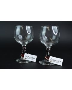 Set Of 2 StoneWear Home Décor Clear Cordial Glasses W/Multicolor Beaded Design