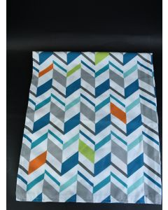 Handmade Multicolor Chevron Pattern Window Panel Curtain With Buttonhole Top