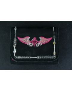 Small Black and Pink Heart With Wings Embroidered Emblem Button Pocket Wallet