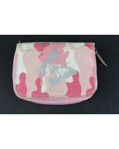 Pink Camouflage Pattern Wallet With Silver Butterfly Emblem Zipper Coin Purse