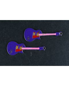 Set Of 2 Small Purple Electric Guitar Charm Key Chains With Pink And Red Colors