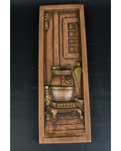 Brown Ceramic Rectangular Wall Hanging With Pot Belly Stove On Porch Design