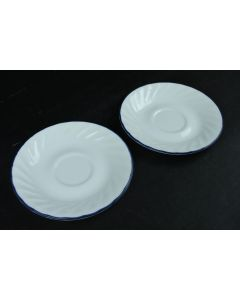 Corelle By Corning Swirl Design With Blue Rim Saucers Food Plates Set Of 2
