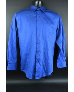 George Men's Blue Cotton Button Up Long Sleeve Shirt Size Small 14-14 1/2 32-33