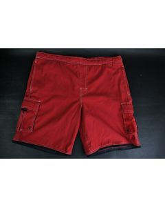Roundtree & Yorke Men's Red Polyester Swimming Trunks With Pockets And Liner