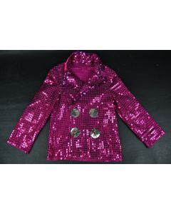 Pink & Silver Toddler Sparkly Sequined Long Sleeve Shirt Jacket Dance Costume