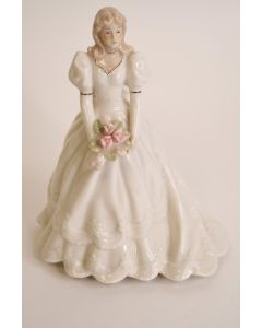 """Lady Musical Spinning Figurine White Floral Dress & Bouquet Plays """"The Way Were"""""""
