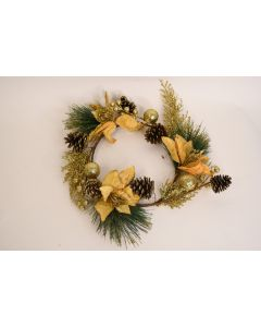 Small Gold Glittery Pine Wreath Holly Leaves Home Décor