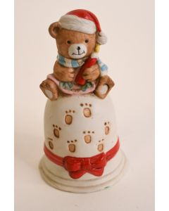 Ceramic Christmas Bell W/Red Bow & Baby Bear Holding Candle Handle Holiday Décor