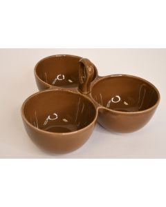 Taste Of Home Entertaining Brown Glazed Divided 3 Part Condiment Bowl W/ Handle