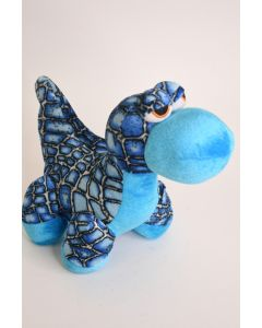 B J Toyco Blue Baby Dinosaur Plush Stuffed Toy W/Big Eyes & Embroidered Features