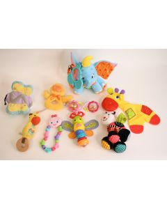 Set Of 9 Fun Multicolor Baby Toddler Plush Activity Toys & Noise Makers Teaching