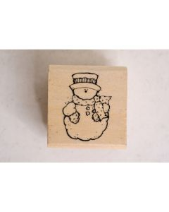 Hook's Lines & Inkers 1993 Wood Mounted Rubber Stamp Frostee The Snowman Design