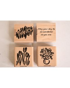 4 Pc. Stampin' Up! 1996 Wooden Rubber Stamp Set W/Thanks Flowers Tulips & Quote
