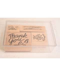 4 Pc. Stampin' Up! Wooden Rubber Stamp Set W/Thank You Thinking Of You Congrats