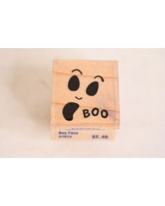 Stampabilities 2002 Wooden Rubber Boo Ghost Face Halloween Stamp Scrapbook Card