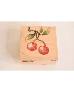 Rubber Stampede INC Wooden Rubber Cherries On A Stem W/Leaves Stamp Scrapbooking