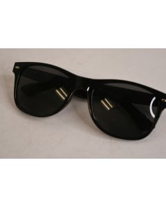 OBX Black Basic Sun Glasses W/Curved Arms and Silver Accents Printed With 9.9.19