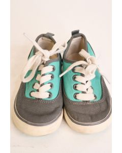 Gap Kids' Toddler Gray & Blue Canvas Vans Sneaker Shoes With White Laces Size 7