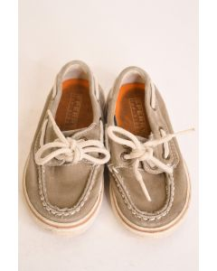Sperry Top-Sider Kids' Light Gray Fabric Upper Casual Loafer Shoes Laces Size 7
