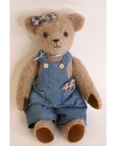 Levi's Brown Poseable Teddy Bear Wearing Denim Overalls Bow Red Bell Necklace