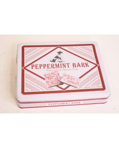 Nassau Red & Silver Holiday Peppermint Bark Candy Tin W/Dog Pup Container EMPTY