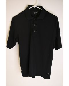 Champion Men's Black 100% Polyester Short Sleeve Button Up Polo Shirt Size Small